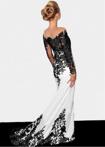 Elegant Illusion Neckline See-through Full-length Mermaid Formal Dresses With Lace Appliques