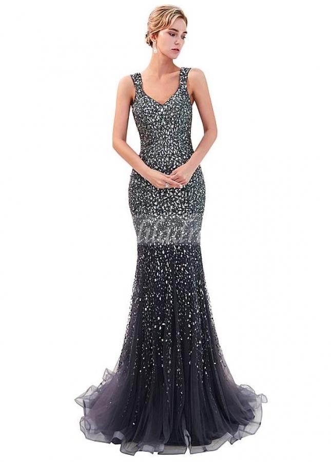Sparkling Tulle V-neck Neckline Mermaid Formal Dress With Beadings