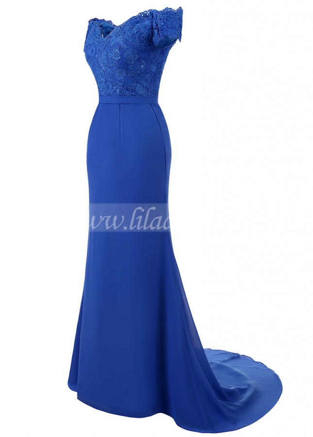 Charming Chiffon Off-the-shoulder Neckline Floor-length Mermaid Evening Dresses With Lace Appliques & Belt