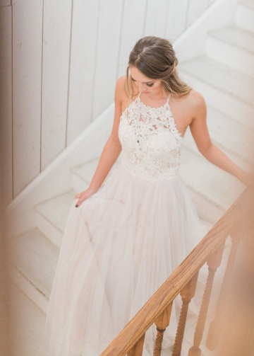 A-line Halter Lace Boho Wedding Dresses with Tulle Skirt