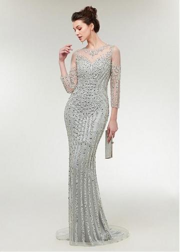 Brilliant Tulle Jewel Neckline 3/4 Length Sleeves Sheath/Column Evening Dress With Beadings