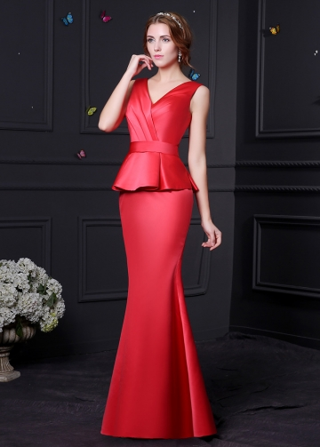 Elegant Satin V-neck Neckline Mermaid Bridesmaid Dress