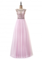 Amazing Tulle Bateau Neckline A-Line Prom Dress With Beadings