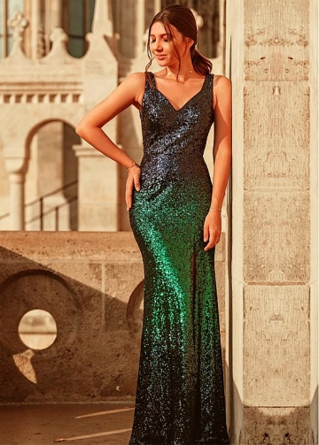 Glorious Sequin Lace V-neck Neckline Sheath/Column Evening Dresses