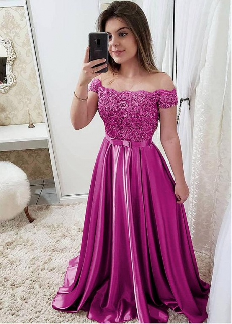 Chic Satin Off-the-shoulder Neckline Floor-length A-line Evening Dresses
