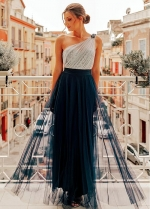 Excellent Tulle & Sequin Lace One Shoulder Neckline A-line Evening/Prom Dresses