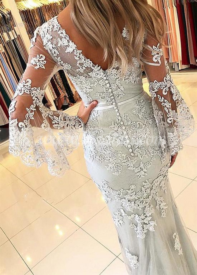 Gorgeous Tulle V-neck Neckline Floor-length Mermaid Evening Dresses With Beaded Lace Appliques & Belt
