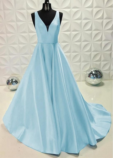 Marvelous Satin V-neck Neckline Floor-length A-line Evening Dresses