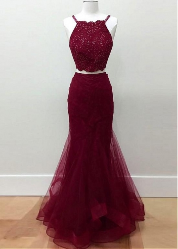 Beautiful Tulle Two Piece Mermaid Prom Dresses With Lace Appliques & Beadings