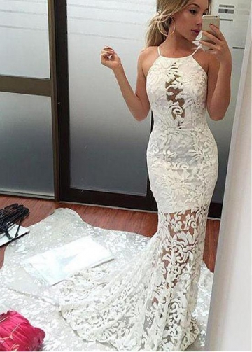 Alluring Lace Halter Neckline Floor-length Mermaid Evening Dresses