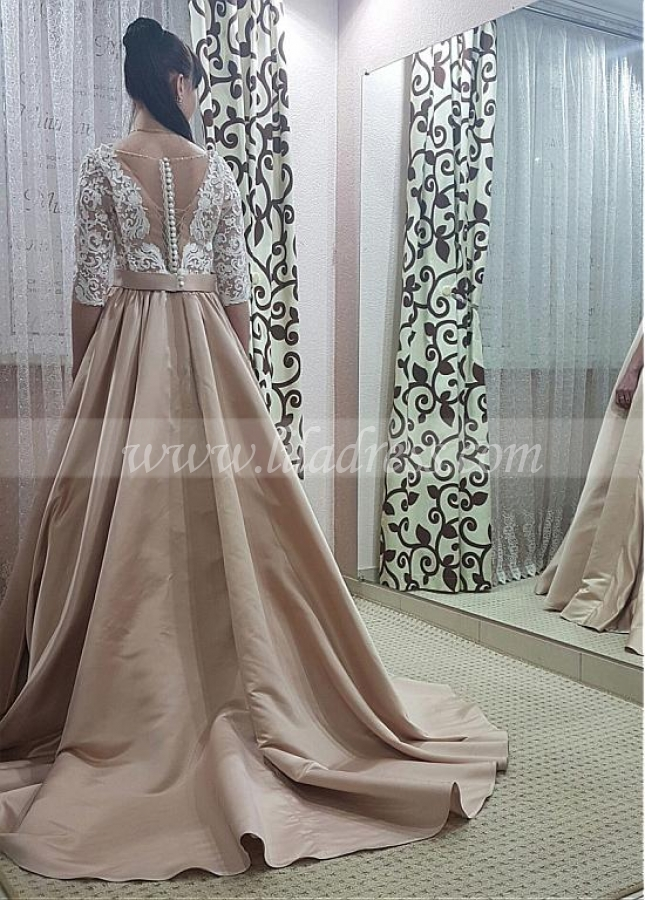 Glamorous Tulle & Satin Jewel Neckline Floor-length A-line Prom Dresses With Lace Appliques & Bowknot