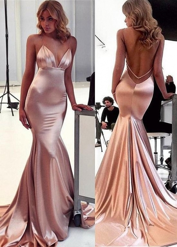 Delicate Stretch Charmeuse Satin Spaghetti Straps Neckline Floor-length Mermaid Evening Dresses