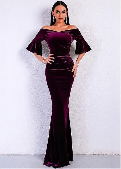Elegant Velvet Off-the-shoulder Neckline Floor-length Mermaid Evening Dresses