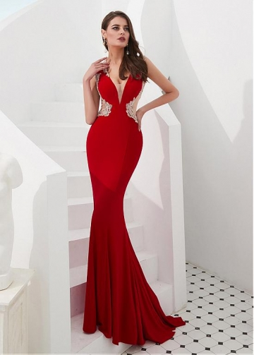 Stunning Satin & Tulle V-neck Neckline Floor-length Mermaid Evening Dresses With Beadings