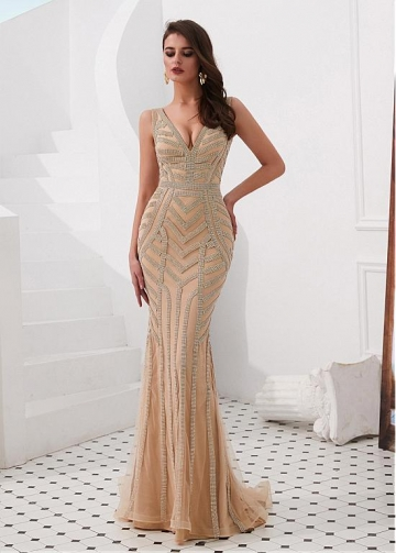 Exquisite Tulle V-neck Neckline Floor-length Mermaid Evening Dresses With Rhinestones
