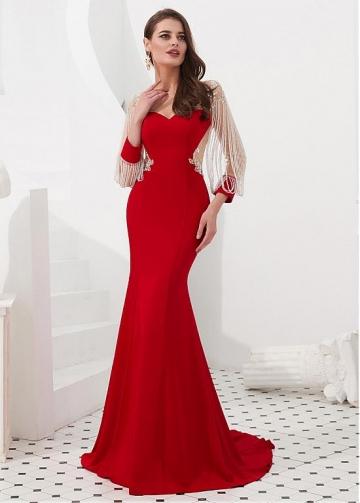 Romantic Satin Bateau Neckline Floor-length Mermaid Evening Dresses With Beaded Chains & Beadings