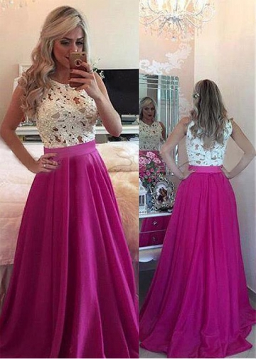 Exquisite Jewel Neckline Floor-length A-line Prom Dresses With Beaded Lace Appliques