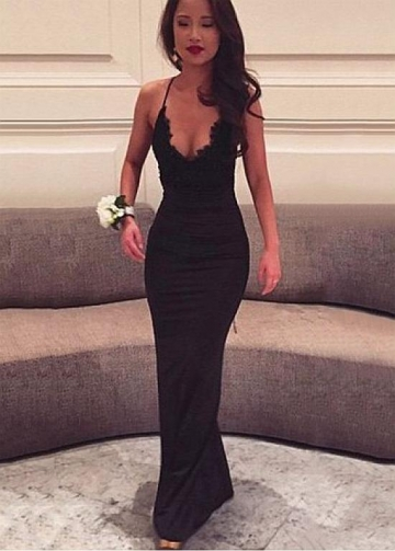 Sexy Satin Spaghetti Straps Neckline Floor-length Sheath/Column Dresses With Lace Appliques