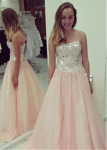 Distinctive Tulle Sweetheart Neckline Floor-length A-line Prom Dresses With Beadings