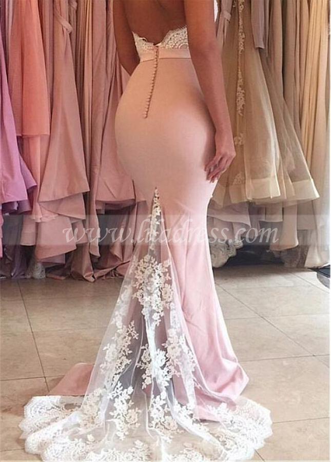 Graceful Pink Spaghetti Straps Neckline Floor-length Mermaid Prom Dresses