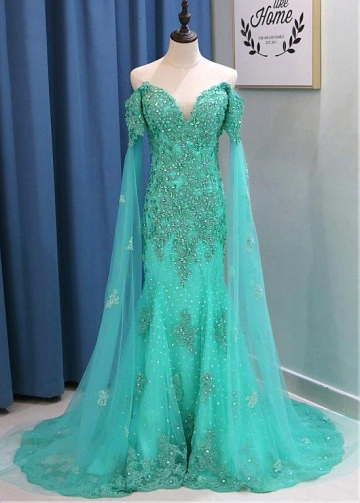 Brilliant Tulle Off-the-shoulder Neckline Floor-length Mermaid Evening Dresses With Lace Appliques & Beadings