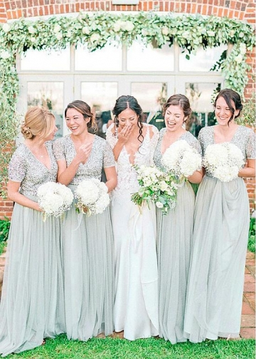 Beautiful Tulle V-neck Neckline A-line Bridesmaid Dresses With Beadings