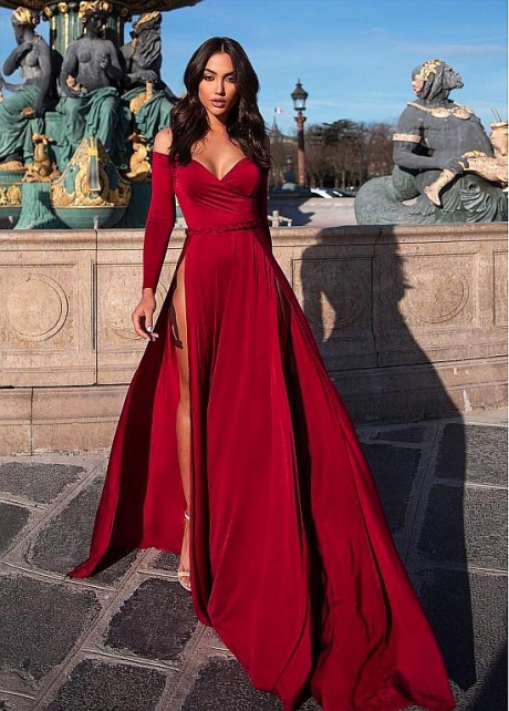 Sexy Off-the-shoulder Neckline Floor-length A-line Evening Dress With Sleeves