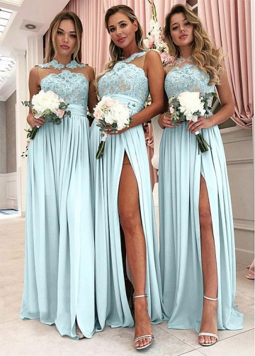 Brisk Jersey Jewel Neckline A-line Bridesmaid Dresses With Slit