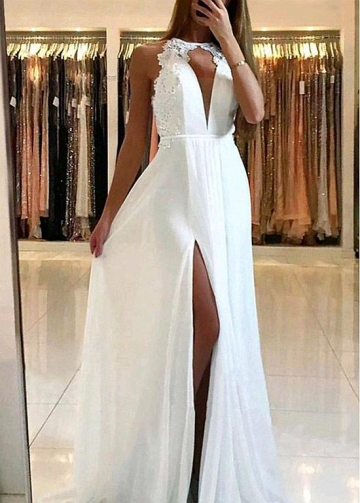 Gorgeous White Chiffon Jewel Neckline Floor-length A-line Evening Dress With Slit