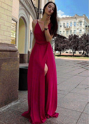 Splendid Chiffon Spaghetti Straps Neckline Floor-length A-line Evening Dress With Slit