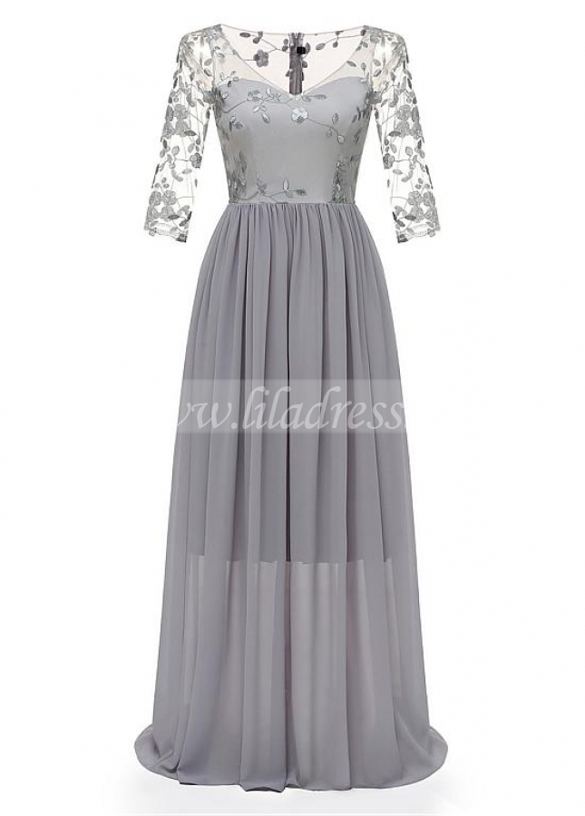 Fantastic Lace & Chiffon V-neck Neckline Floor-length A-line Bridesmaid Dresses