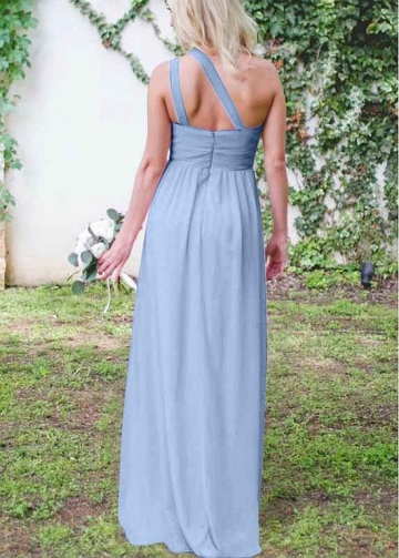 Diaphanous Chiffon One Shoulder Neckline A-line Bridesmaid Dresses