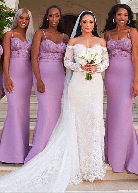 Delicate Satin Spaghetti Straps Neckline Floor-length Mermaid Bridesmaid Dresses