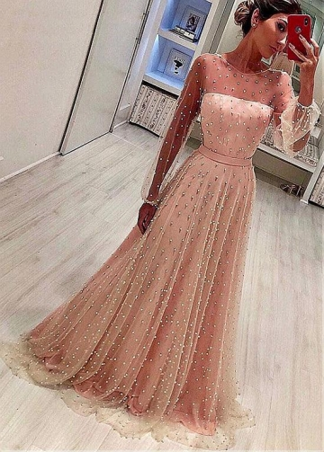 Pretty Tulle Jewel Neckline A-line Evening Dress With Belt & Beadings