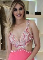 Eye-catching V-neck Neckline Floor-length Mermaid Evening Dress With Open Back