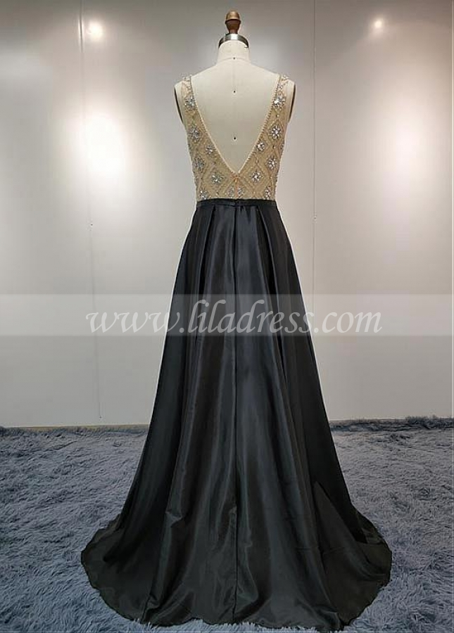 Elegant Satin Scoop Neckline Natural Waistline A-line Prom Dress With Beadings
