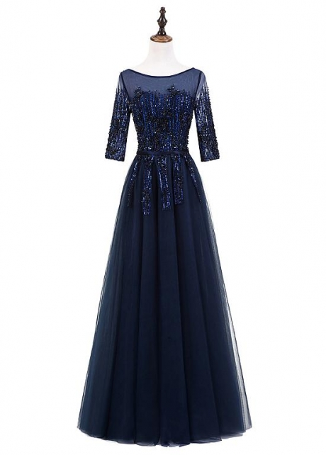 Marvelous Tulle Bateau Neckline Full Length A-Line Evening Dress With Beadings