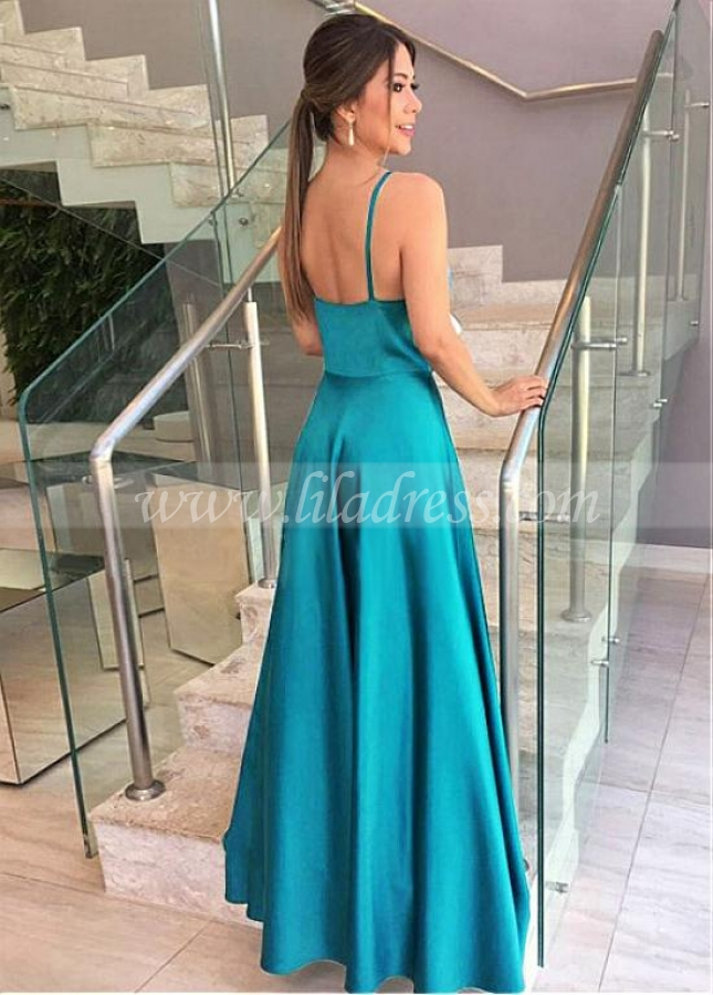 Wonderful Satin Spaghetti Straps Neckline A-line Evening Dress With Lace Appliques
