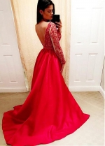 Stunning Satin V-neck Neckline Long Sleeves A-line Prom Dress With Beaded Embroidery