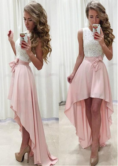 Distinctive Lace & Chiffon Jewel Neckline Hi-lo A-line Prom Dress