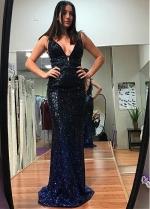 Brilliant Sequin Lace V-neck Neckline Sheath/Column Evening Dress With Beadings