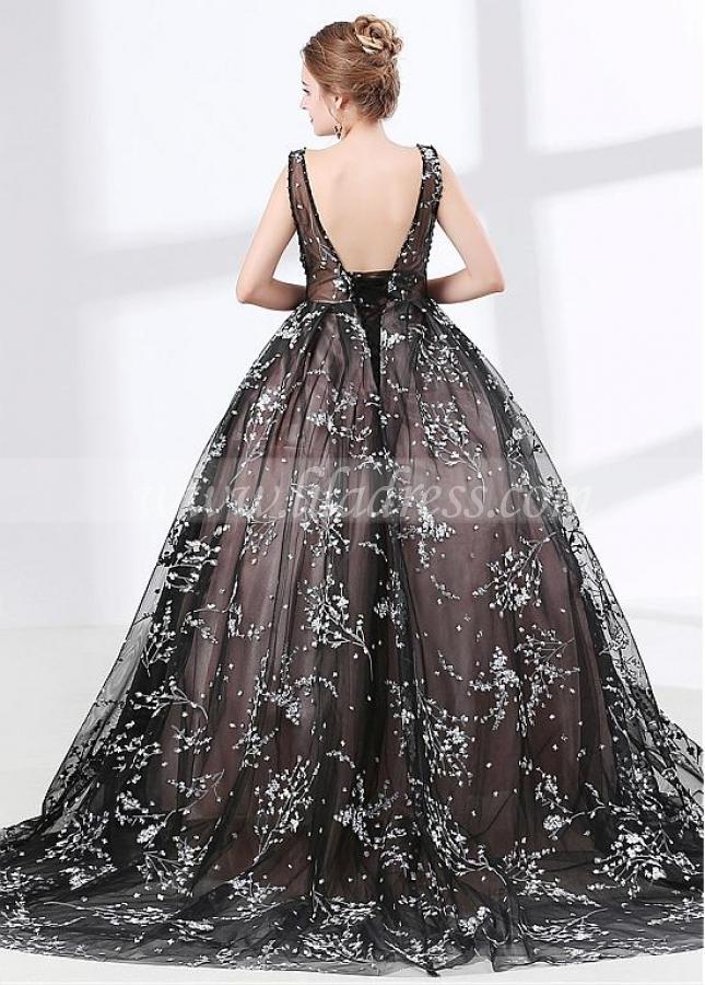 Beautiful Organza V-neck Neckline Black Ball Gown Evening Dress