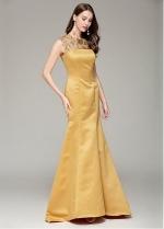Chic Satin Jewel Neckline Mermaid Prom Dress