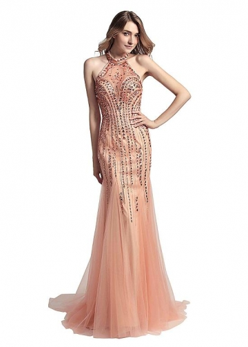 Fabulous Tulle Halter Neckline Floor-length Mermaid Formal Dresses With Beadings