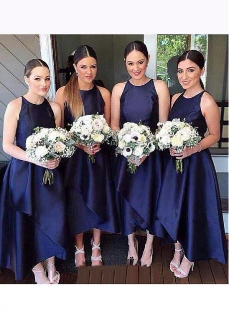 Modest Satin Jewel Neckline Hi-lo A-line Bridesmaid Dresses