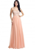 Elegant Chiffon Sweetheart Neckline Floor-length A-line Prom Dresses With Beaded Lace Appliques