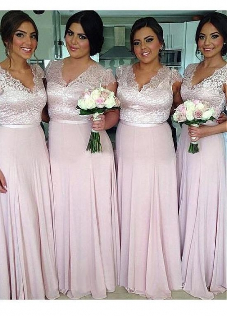Beautiful Lace & Chiffon V-neck Neckline Full-length A-line Bridesmaid Dresses With Belt