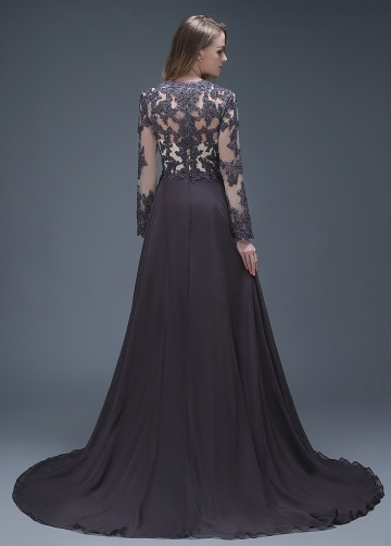 Elegant Chiffon V-neck Neckline Full-length A-line Formal Dresses