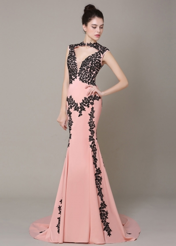 Romantic High Collar Neckline Mermaid Formal Dresses
