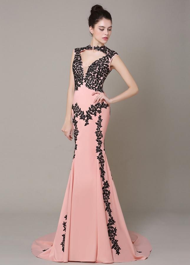Romantic High Collar Neckline Mermaid Formal Dresses